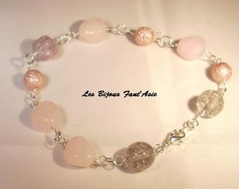 OM silver plated wire and glass shades pink