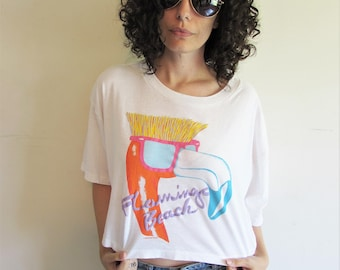 Vintage 80s OP Ocean Pacific Neon Flat Top Flamingo Beach Oversize Crop Top