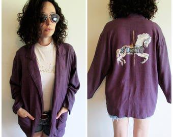 Vintage 80s 90s Plum Purple Oversize Jacket Blazer with Handpainted Carousel Horse on Back
