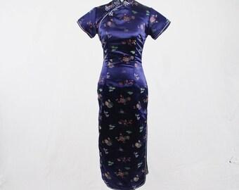 Vintage Cheongsam Dark Blue Satin Long Dress
