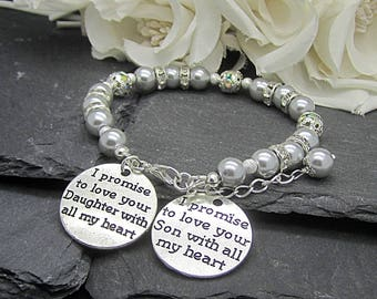 Mother of the Bride Bracelet, Mother of the Groom Pearl Wedding Bracelet, Brides Gift To Mum, Mother In Law Gift, Parents Charm Bracelet