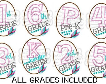 Pre-k~ 6th Grade feather frame/ Back to School Shirts/ Embroidered T-shirt/ Toddler T-shirt/ School Shirts