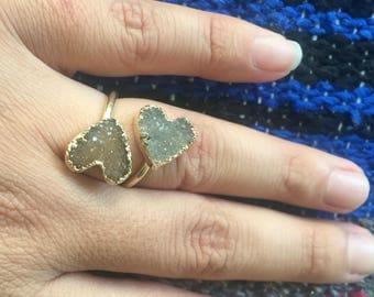 Druzy ring, druzy heart ring, heart ring, gold heart ring, gold druzy ring, adjustable ring, statement ring