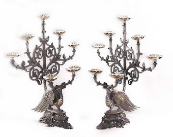 Pair 1800s Phoenix Church Candelabra -  Candle Holders - Candlesticks - Silver Plate -  Gold Gilt - Gothic, Renaissance Griffin Crosses