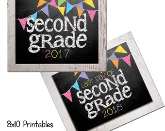 2017 2nd Grade First Day Back to School (Bonus Last Day, too!) Photo Props. Print this fall & spring. Printable 8x10 Kids Instant Download.