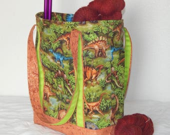 Large zippered tote bag, zippered interior pocket, fully lined, extra long straps, Dinosaurs