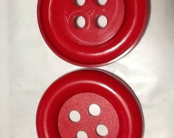 2 LARGE BUTTONS RED 4 HOLES BUTTONS USA 7 CM