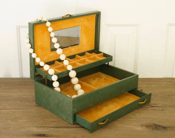 vintage jewelry box large multi tier green and sunflower yellow