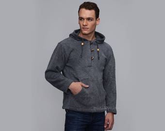 Men's Cotton hoodie - Stone washed - Casual pullover