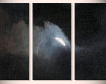 Total Solar Eclipse Photo Triptych, color photograph, black and white, fine photography print, Hole in the Sky (Triptych)