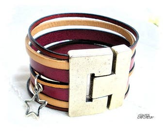 Cuff Bracelet in Burgundy and nude star balance BR731