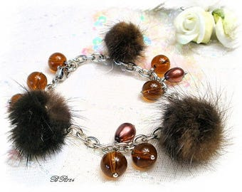 chocolate bracelet glass beads and fur BR724