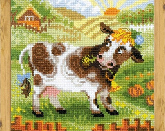 The Farm. Little Cow - Cross Stitch Kit from RIOLIS Ref. no.:1522