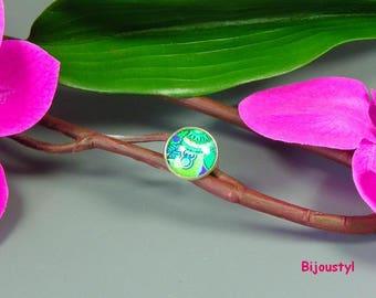 "Ring - Cabochon 20 mm - ""The plant"" - medium metal silver"