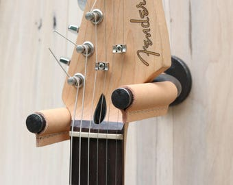 Guitar Hanger, Natural Leather, Gifts for Musicians, Guitar Hook, Guitar Wall Mount, Music Lover Gift, Guitar Display, Acoustic Guitar Hook