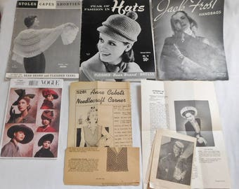 vintage Pattern books Crochet purses hats capes + Vogue hat pattern