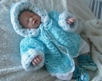 coat with hood, coat, jacket 0/6 months baby blue turquoise/white baby crochet wool