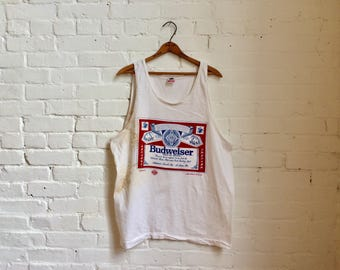 Vintage 1980s Budweiser Anheuser-Busch King of Beers tank top shirt mens xl