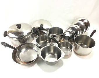 Vintage Revere Ware Cook 15 Piece Set * Double Ring and Process Patent Hallmarks