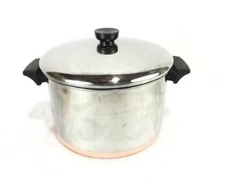 Vintage Revere Ware 6 Quart Stock Pot with Lid * Copper Clad Cookware * Dutch Oven * Soup Pot