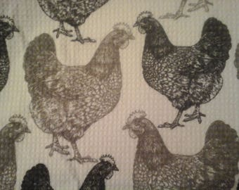 double kitchel towel extra wide waffle material gray roosters crocheted gray top Pattern one way
