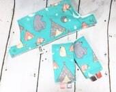 Drool Pads & Bib SET - Cupid's Arrow Campsite - Lillebaby Beco Gemini Ergo Tula more
