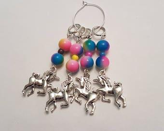Rainbow Sherbet Unicorn stitch markers