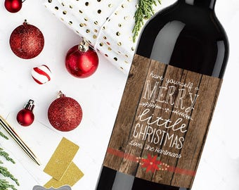 Christmas Wine label, Christmas Wine Bottle Labels, Holiday Wine Label, Christmas Hostess Gift, Neighbor Christmas Gift, Holiday Party Favor