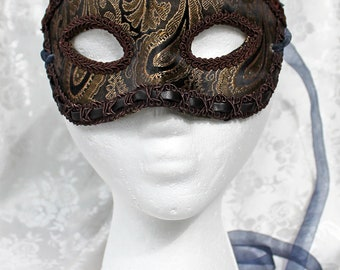 Men's Brocade Masquerade Mask, Made To Order Brown and Gold Paisley Brocade Masquerade Mask. Brown Gold Masquerade Ball Mask
