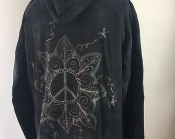 XLARGE Organic Cotton Hoodie - hand dyed - bleach painted - Peace sign design