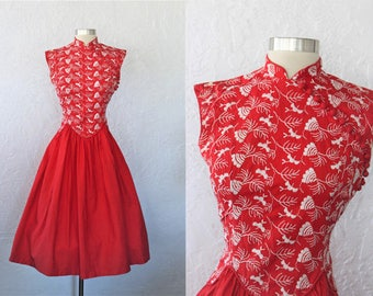 1950s Red Dress / Vintage 50s Cherry Red White Embroidered Cotton Full Skirt Day Dress / Cheongsam Style / Mandarin Collar / Rockabilly - XS