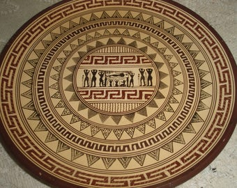 Greek Clay Plate, Hand painted Greek design Plate depicting Burial, Brown and Beige 9 inch Greek Wall Hanging Plate