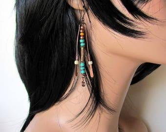 Long boho tribal earrings, hypoallergenic earrings, boho bead dangle earrings,  copper, niobium ear wires