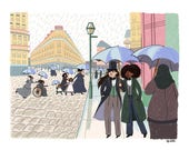 Paris Street; Rainy Day by Caillebotte - Intersectional Inktober Version - Print - Hand-Illustrated
