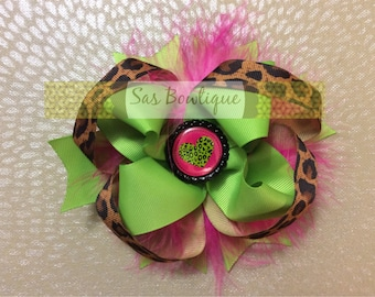 Lime Green & Hot Pink Leopard print bow
