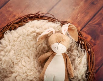 Digital Backdrop/background, brown wooden floor with sheepskin in newborn nest and teddy bear