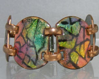 Martha Kluz Mid Century Modern Enamel on Copper Bracelet