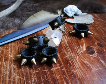 Ghost River Spiked Leather Goth Post-apocalyptic Leather Ring Dread Bead