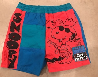 Vintage 80s 90s Joe Cool On Duty Snoopy Shorts Swim Trunks Spell Out Neon Beach Comic Cartoon Novelty Shorts Lifeguard Size 6 Kids Youth