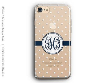 iPhone X Case, iPhone 7 Case, iPhone 8 Case, iPhone 8 Plus Case, iPhone 6, Monogram Case, Polka Dots, Galaxy S8 Case, Samsung Galaxy Case