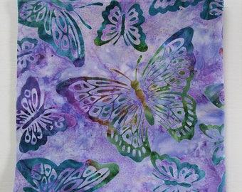 "Lavender Butterfly Handkerchief, 16"" Cotton Batik Hanky, Handmade, Summer Gifts For Women, Weddings, Artistic, Garden Accessories"
