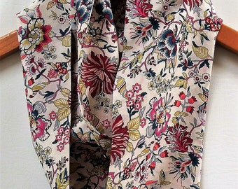 "Liberty of London Infinity Scarf,  4.5"" Wide 52"" Loop, Summer Floral Scarf, Soft Lightweight Cotton Lawn"