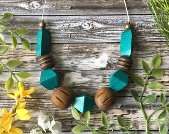 Wooden Block Necklace, Gift for Her, Statement Necklace, Modern Necklace, Teal Necklace, Blue Necklace, Natural Necklace, Spring Necklace