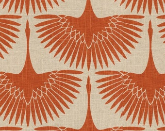 Designer Pillow Cover Flock of Red Birds  on a Linen Colored Background