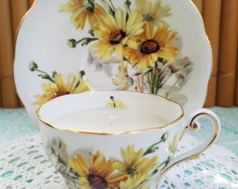 Yellow Flowers Tea Cup Candle and Saucer