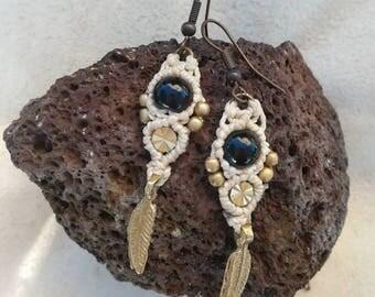Boho Gothic macrame earrings. Steampunk macrame earrings with black Onyx gemstone