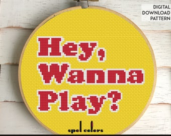 Hey, Wanna Play? Child's Play Chucky Movie Film Counted Cross Stitch PATTERN DIGITAL DOWNLOAD Beginner