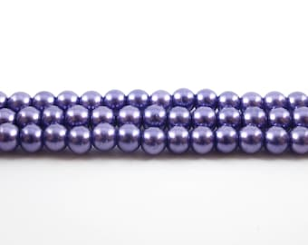 Purple Glass Pearl Beads, Faux Pearl, 4mm - 1 strand (FP12)