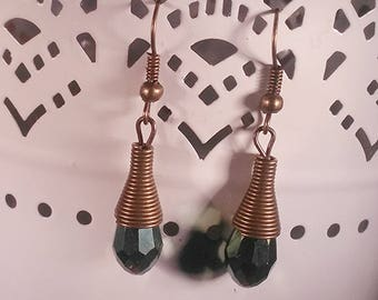 Dangle Drop Earrings, Faceted Deep Green Multicolor Glass Bead Crystal, Antique Bronze Cone-Shaped Findings, Bronze Ear Wires