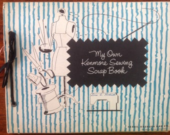 Vintage Kenmore Sewing Scrap Book, Fabric Scraps, Samples, Practice Pages, Quilting, Gray Fabric, Pink Stitches, Trim, Rick Rack Sewing Room
